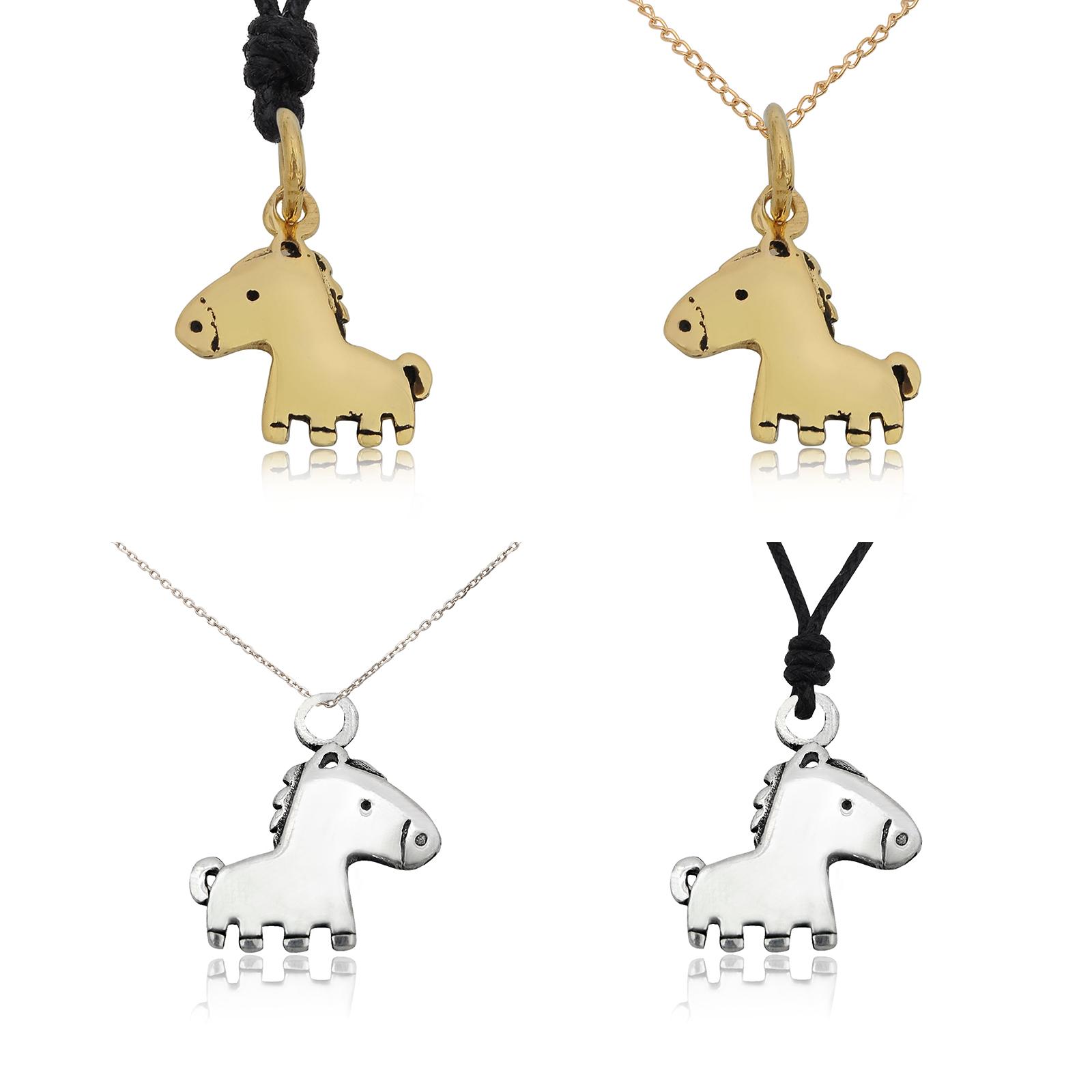 Tiny Unicorn Silver Pewter Charm  Necklace Pendant Jewelry