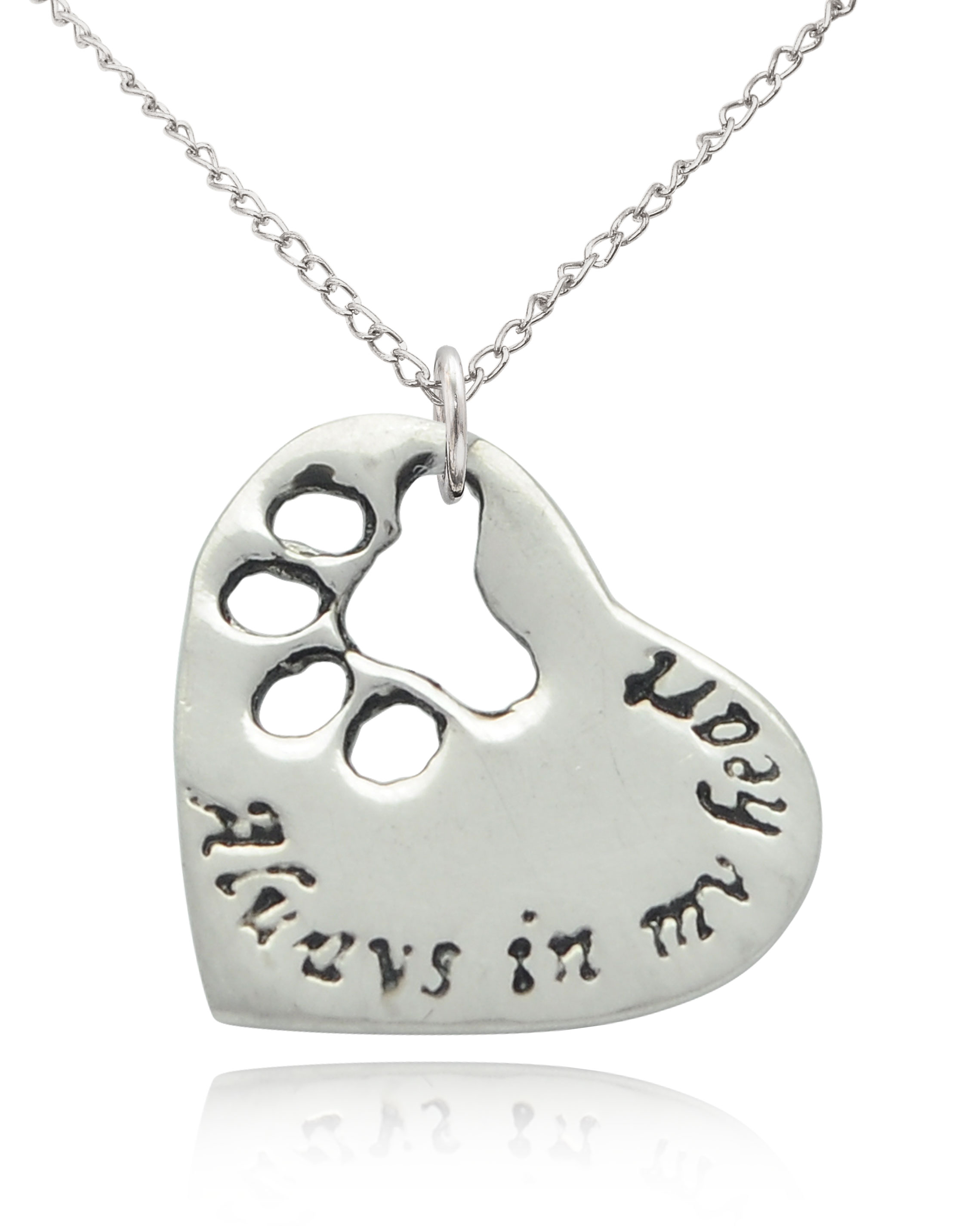 Silver Paw Cavachons: Dog Paw Silver Pewter Charm Necklace Pendant Jewelry