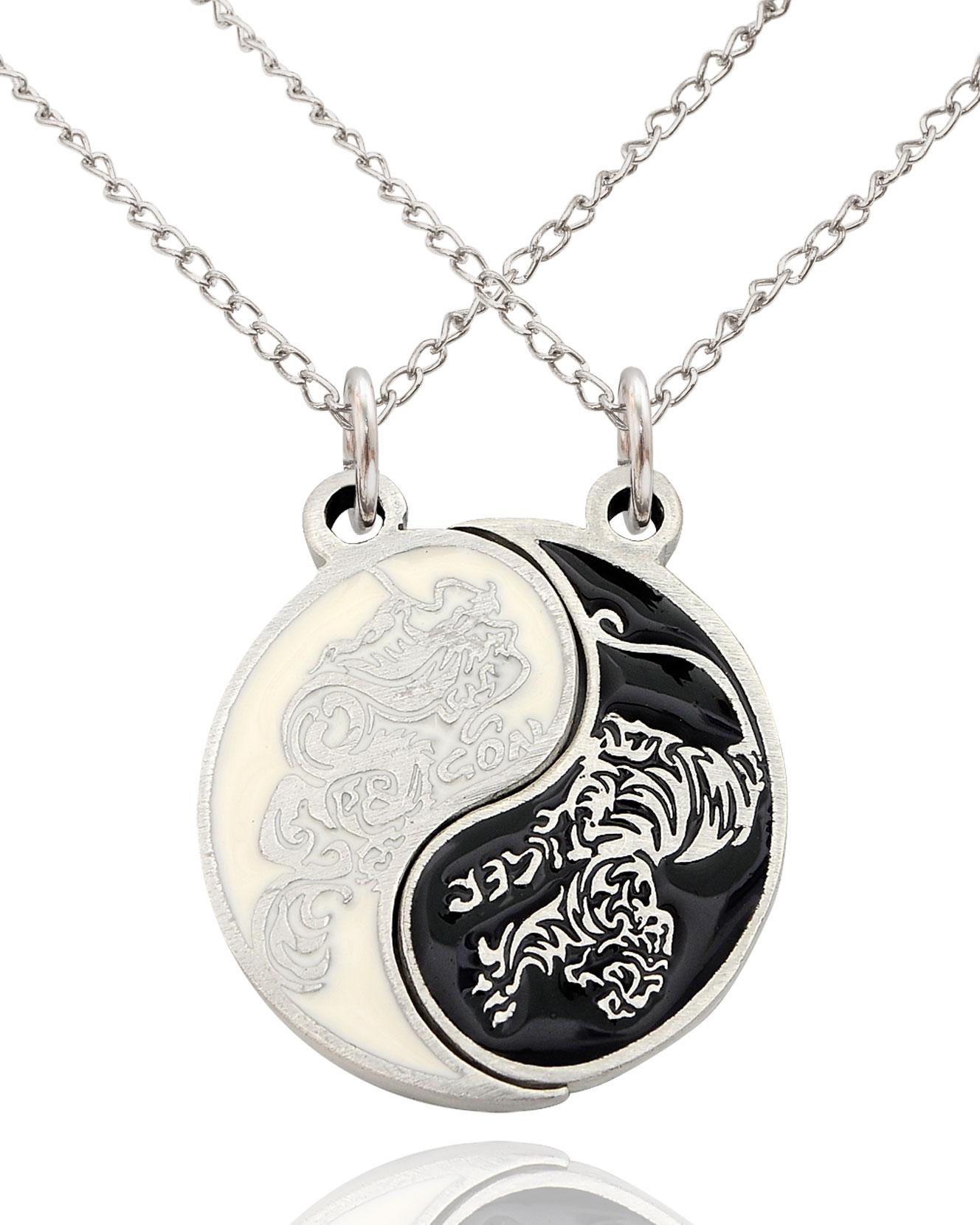 Dragon Tiger Yin Yang Best Friend Handmade Brass Necklace