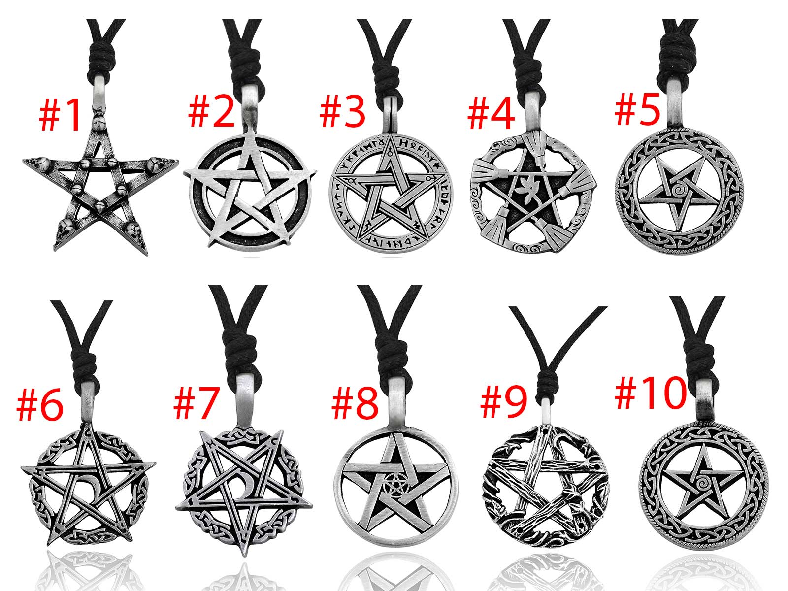 Gothic Pentagram Star Skull 92.5 Sterling Silver Pewter Necklace Pendant Jewelry
