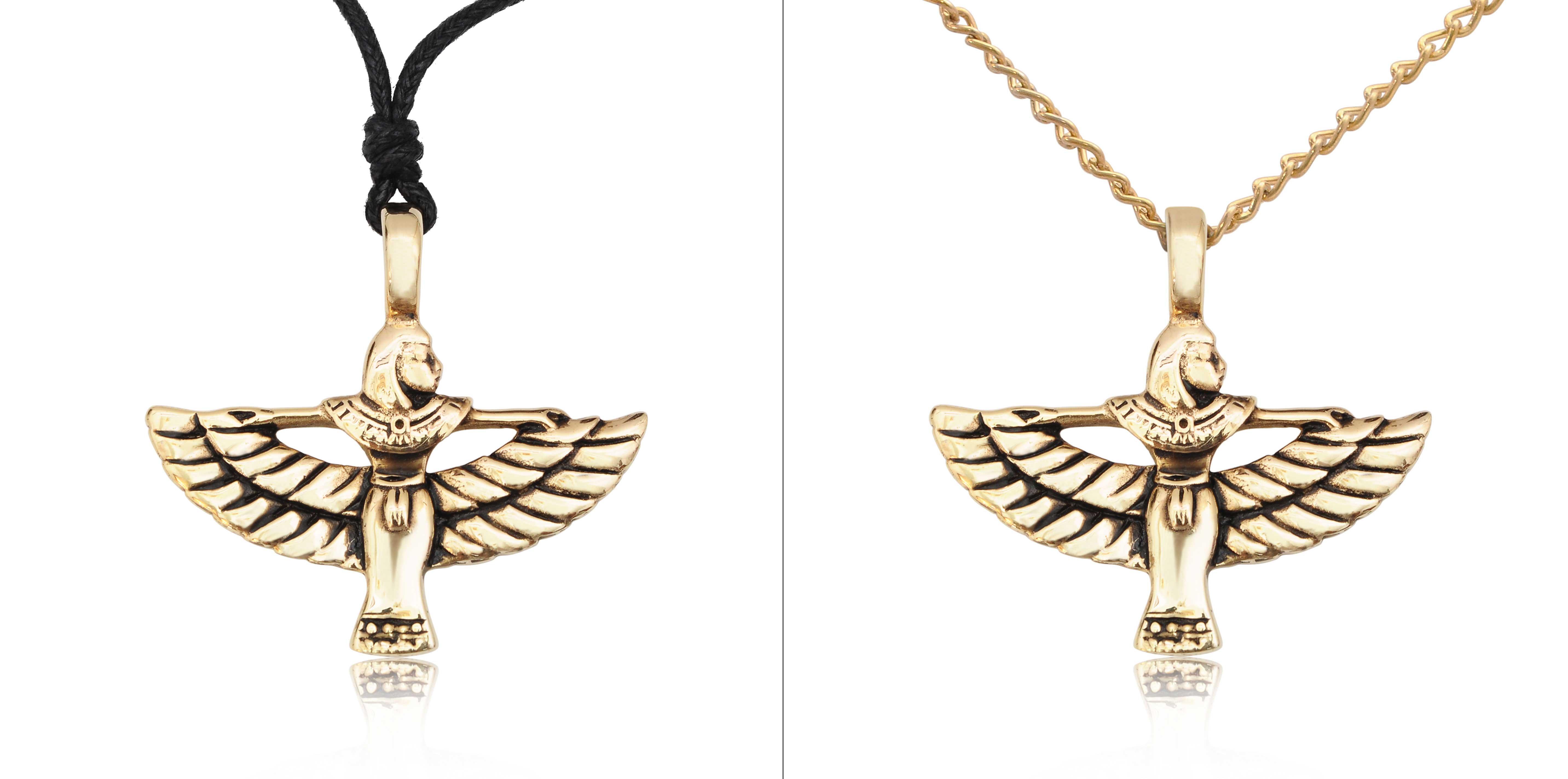 Isis Egyptian Goddess Bird Silver Pewter Gold Brass ...  Isis Egyptian G...